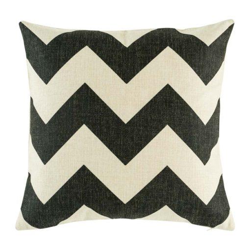 Black chevron cushion cover on cotton linen material