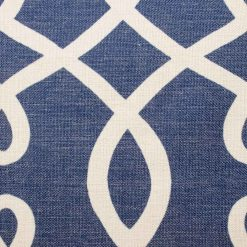 Blue cushion cover shown close up featuring light swirl design