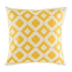 Yellow pattern cushion cover on cotton linen fabric