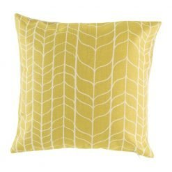 Gold pattern cushion cover on cotton linen material