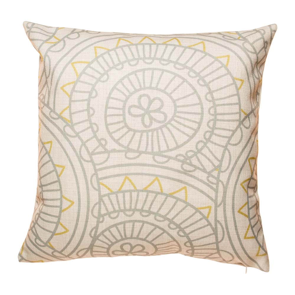Silver and gold geometric shapes on cotton linen cushion cover
