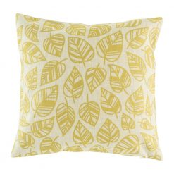 Cotton linen cushion cover with gold leaf pattern
