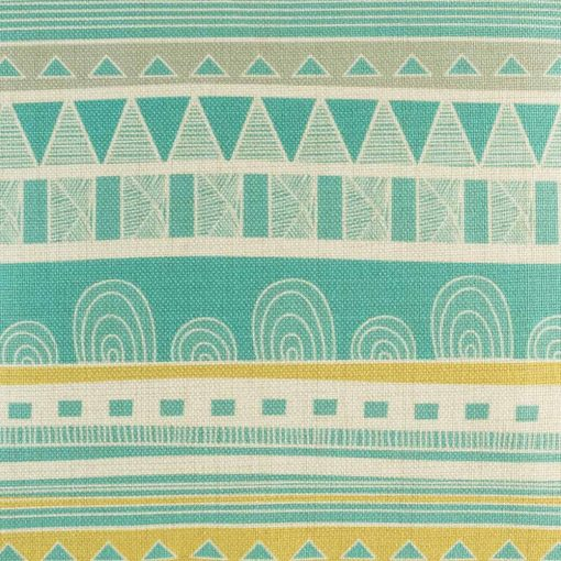 Close up of teal and yellow striped cushion cover