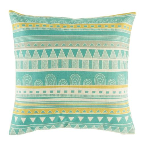 Teal and yellow striped cushion cover cotton linen