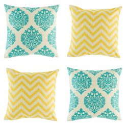 Dandy cushion set containing 2 yellow cushions and 2 teal