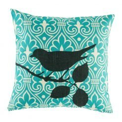 Teal scatter cushion cover with black bird motif