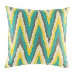 Teal, yellow and grey zig zag pattern on cushion cover