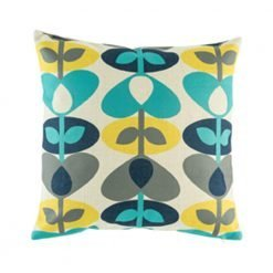 Bright decorative cushion cover with teal and yellow heart pattern