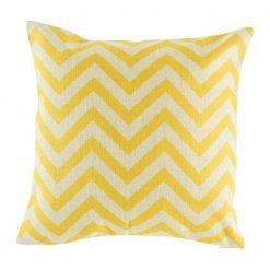 Yellow chevron pattern on natural linen cushion