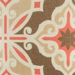 Close view of brown and red pattern on cushion cover