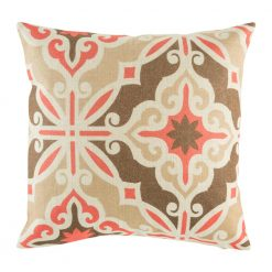 Retro style cushion cover with brown and red colours