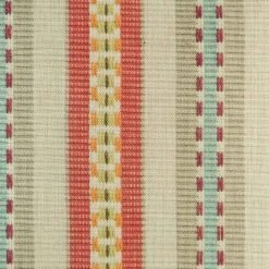 Close up view of striped cushion showing red and orange colours