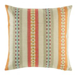 Cushion cover with orange yellow stripe pattern