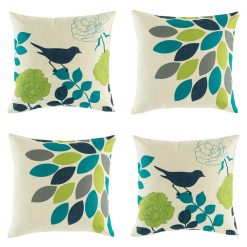 Colourful cushion cover set with green and teal colours
