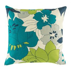 Cushion cover with teal, green and grey floral pattern
