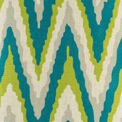 Teal and green chevron cushion cover