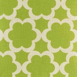 Close up of green flower pattern on cotton linen cushion cover