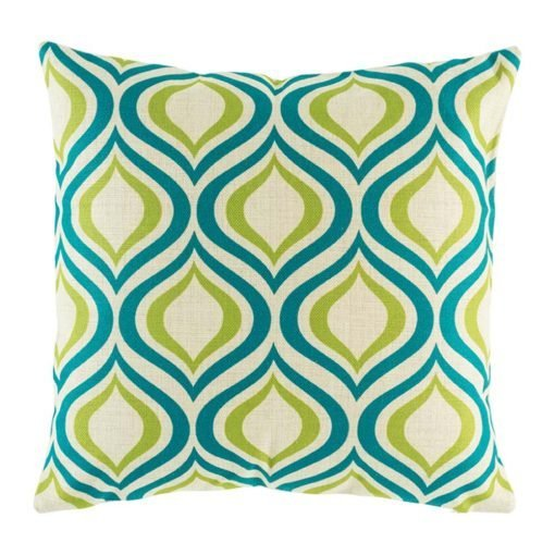 Close up of teal and green pattern cushion cover