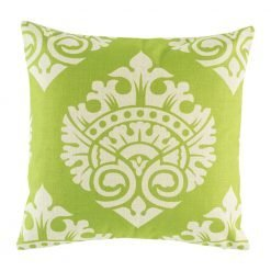 Lime green cushion cover with regal print