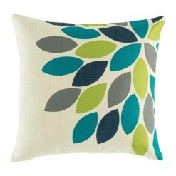 Leaf pattern on cushion cover with green teal and dark blue