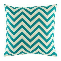 Teal zig zag pattern on cushion cover