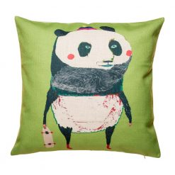 Green cushion with panda pattern