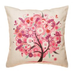 Bright and fun pink tree cushion cover