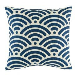 Blue shell pattern on cushion cover