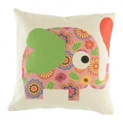 Cute pink elephant with green ears