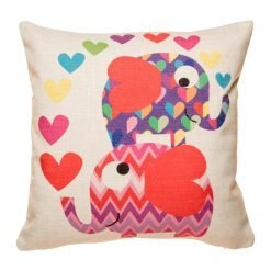 Natural coloured cushion cover with purple and pink cushion