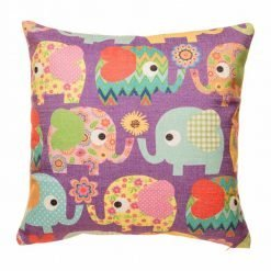 Purple cushion cover with tribe of elephants