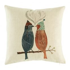 Two cute birds on a twig cushion cover