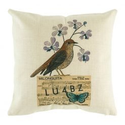 Little brown bird with purple flowers on a postcard cushion cover