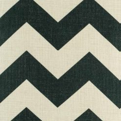 Close up of black zig zag pattern on cotton linen cushion covers