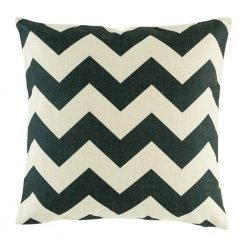 Black zig zag pattern on cotton linen cushion cover