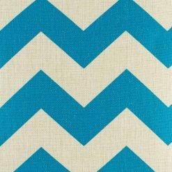 Blue zig zag pattern on cotton linen cushion