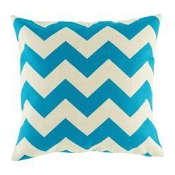 Cotton linen cushion cover with blue chevron