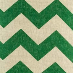 Close up of green zig zag pattern on cushion cover