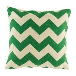 Green zig zag pattern cushion cover
