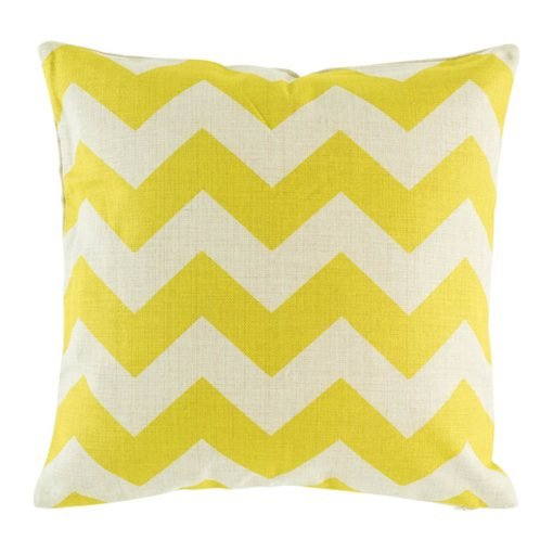 Cotton linen cushion cover with large lime yellow zigzags