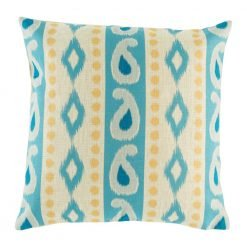 Cute blue and yellow seaside pattern on cushion cover