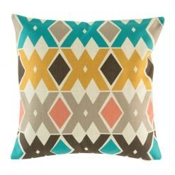 Patterned cushion with gold, grey and teal colours