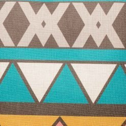 Close up of teal print decorative cusion