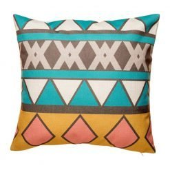 Teal and yellow scatter cushion with bold print