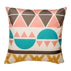 Colouful cushion cover with teal, pink and brown