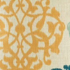 Close up of yellow pattern on cotton linen cushion cover