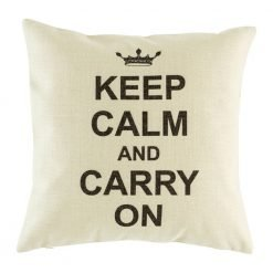 White cushion cover with keep calm and carry on text