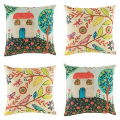 Wild and fun set of 4 cushion covers with bright house and bird motifs