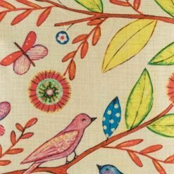 Pink birds and yellow leaves on cushion cover
