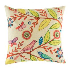 Bright tree themed cushion cover with birds and leaves